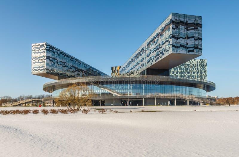 Школа Москвы управления SKOLKOVO в зиме стоковое изображение