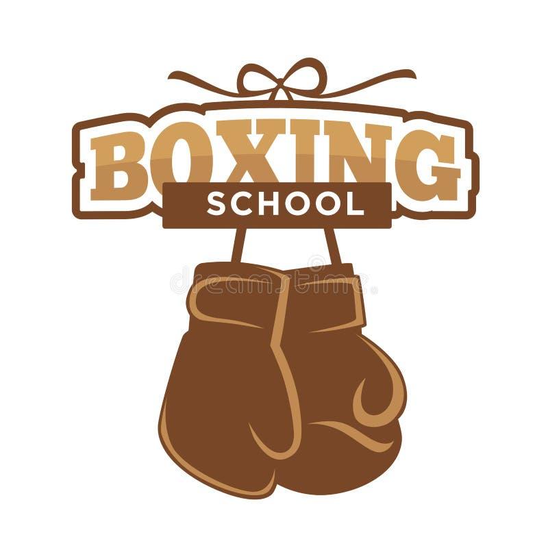 Школа спорта бокса изолировала эмблему с иллюстрацией перчаток иллюстрация вектора