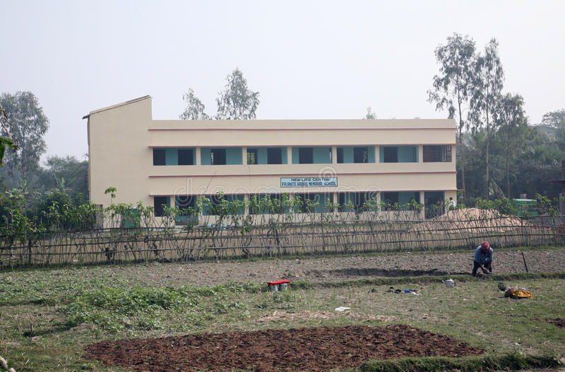 Школа Gabric ставки отца мемориальная в Kumrokhali, западной Бенгалии, Индии стоковое изображение