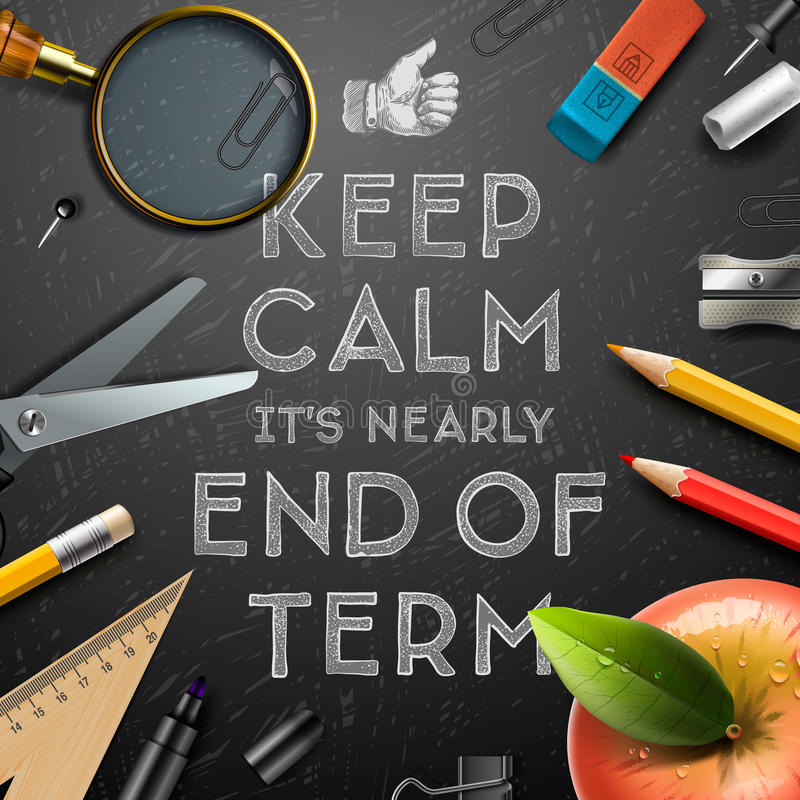 Школы вне, конец термины иллюстрация штока
