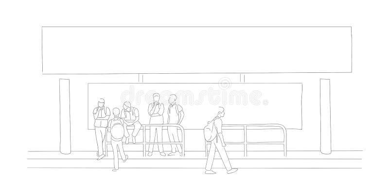 Школьники ждать на автобусной остановке стоковые изображения