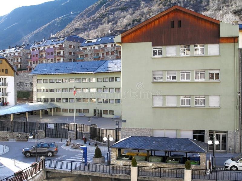 Школьное здание внутри располагается, Андорра стоковые фотографии rf