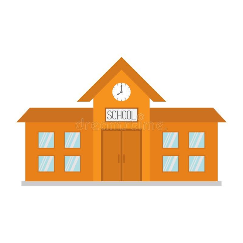 Школьное здание с часами и окнами Конструкция города Собрание clipart образования шаржа задняя школа к Плоский дизайн whit бесплатная иллюстрация