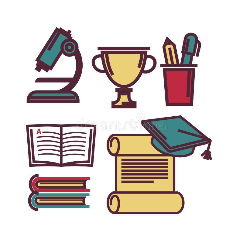 Школьные принадлежности для изучать плакат векторной графики уроков иллюстрация штока