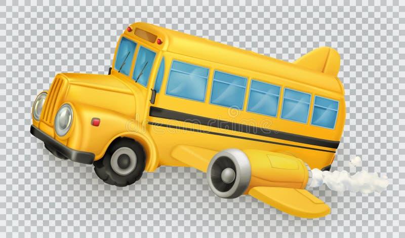 Школьный автобус, самолет зацепляет икону иллюстрация вектора