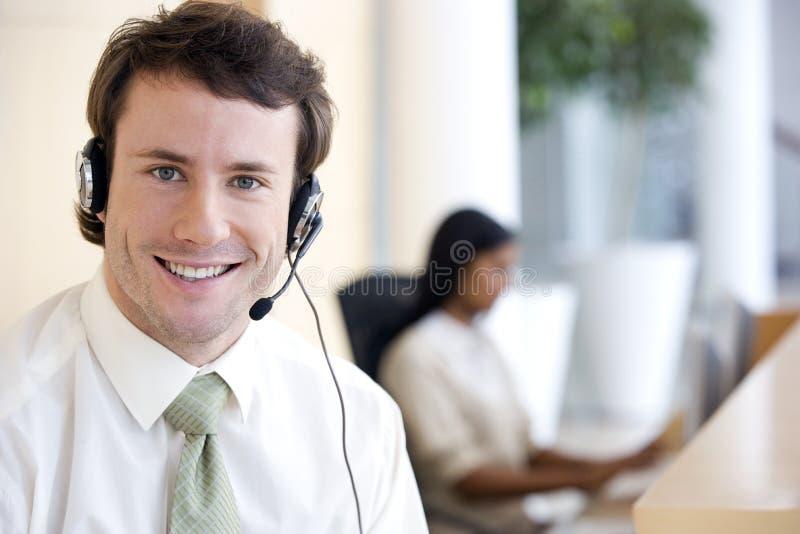 шлемофон бизнесмена стоковое изображение