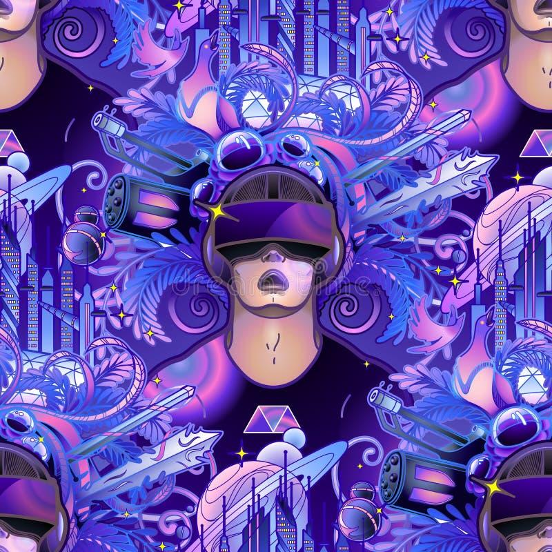Шлемофон виртуальной реальности графического человека нося иллюстрация вектора
