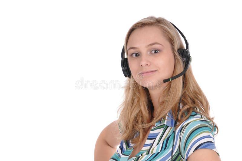 шлемофон девушки стоковое изображение rf