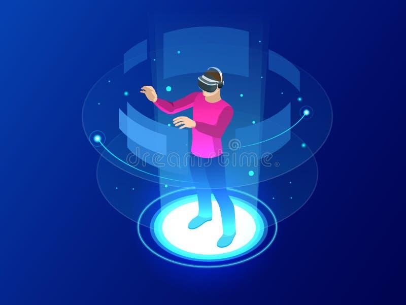 Шлемофон изумлённого взгляда равновеликого человека нося с касающим интерфейсом vr В мир виртуальной реальности будущая технологи бесплатная иллюстрация