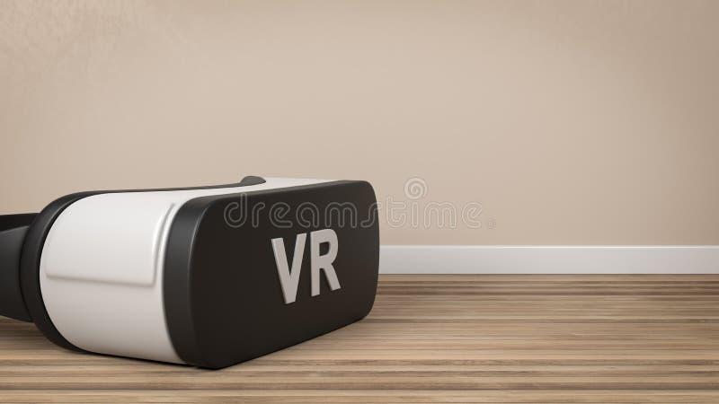 Шлемофон VR в комнате иллюстрация вектора