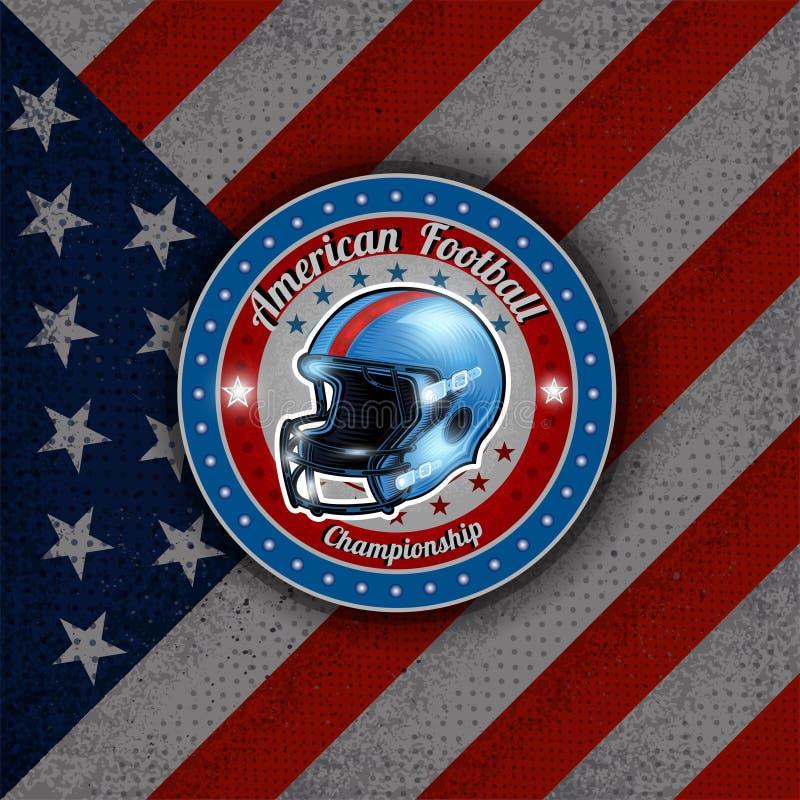 Шлем американского футбола в центре круглой рамки на американском фла бесплатная иллюстрация