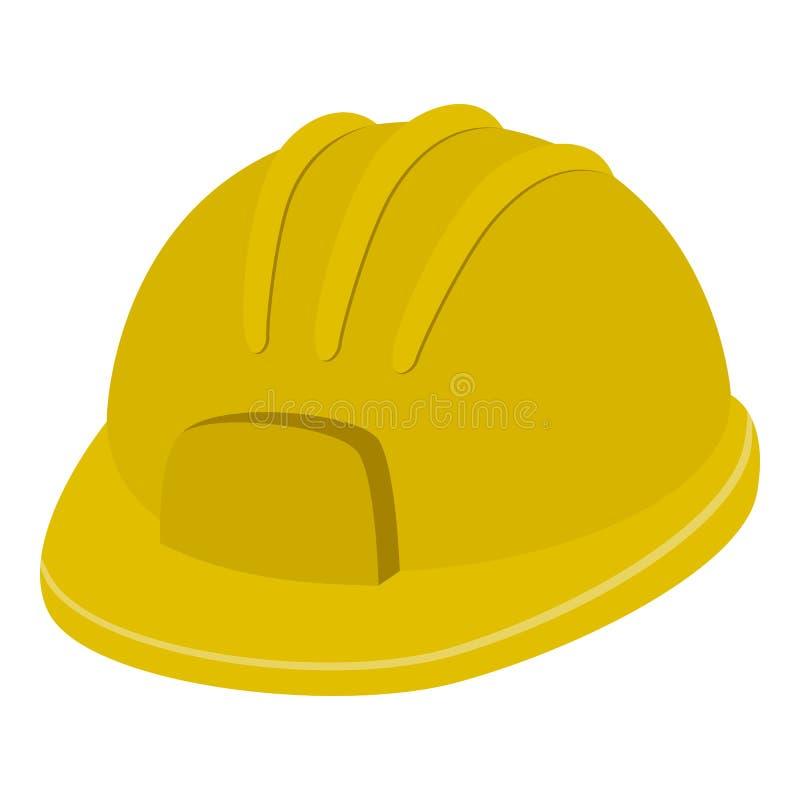 Шлем безопасности или значок трудной шляпы плоский на белизне иллюстрация штока