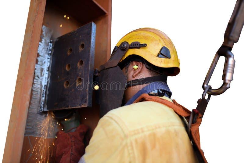 Шлем безопасности сварщика конструкции нося, проводка ареста падения закрепляя retraceable талреп амортизатора удара прибора стоковое фото