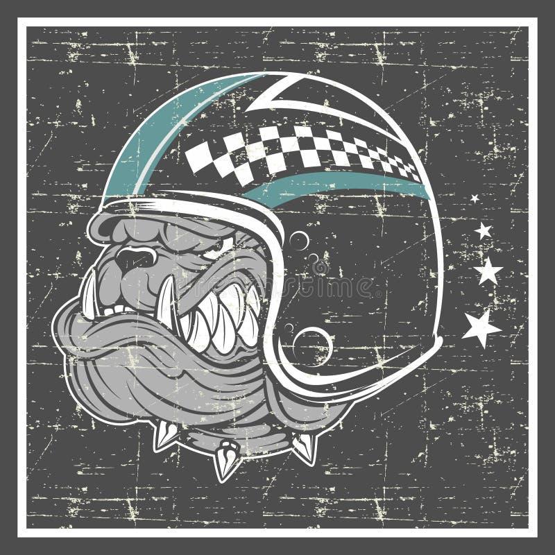 Шлем бульдога стиля Grunge нося иллюстрация вектора