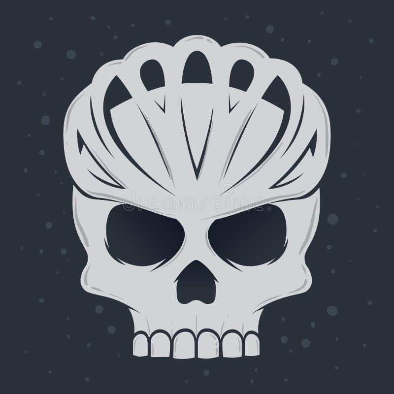 Шлем велосипеда черепа нося бесплатная иллюстрация