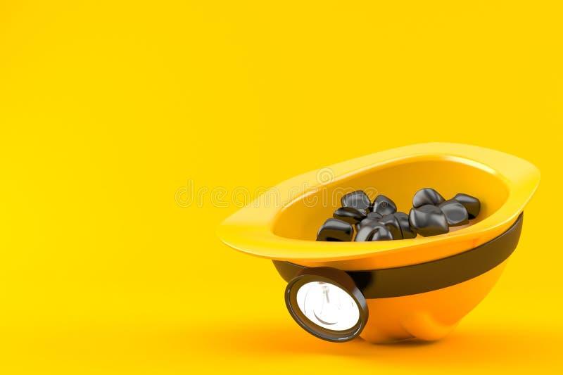 Шлем горнорабочей с углем иллюстрация вектора