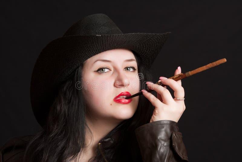 шлем девушки ковбоев стоковая фотография rf