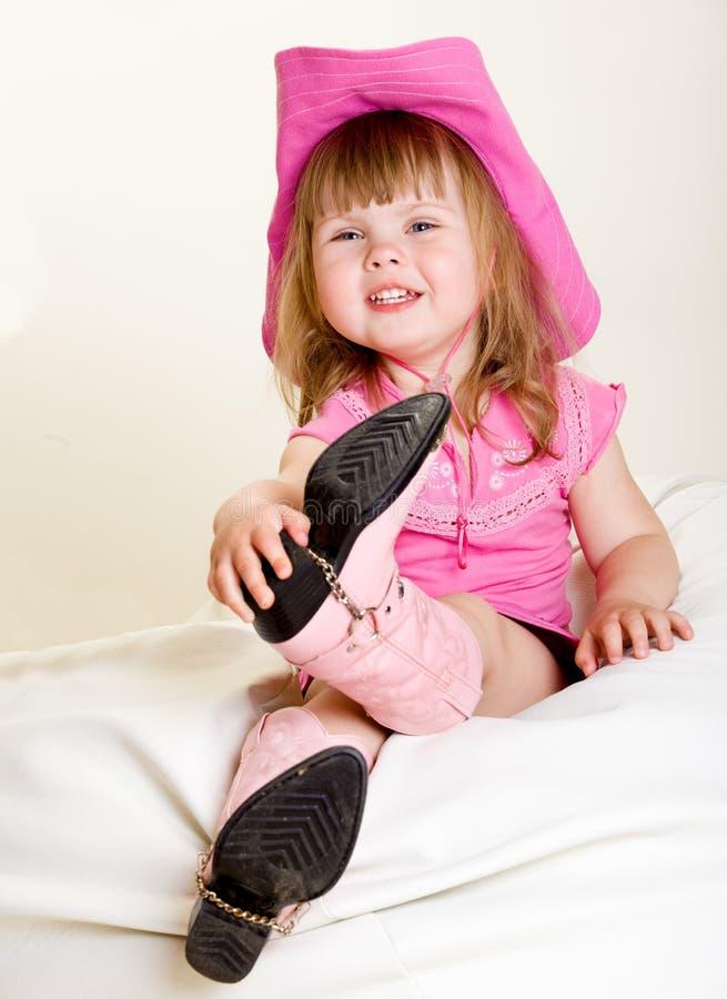 шлем девушки ковбоя стоковая фотография rf