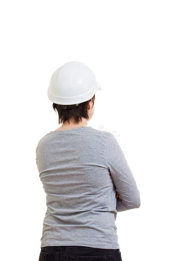 Шлем женщины защитный стоковое изображение