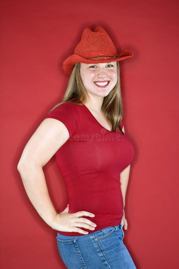 шлем женщины ковбоя стоковая фотография rf