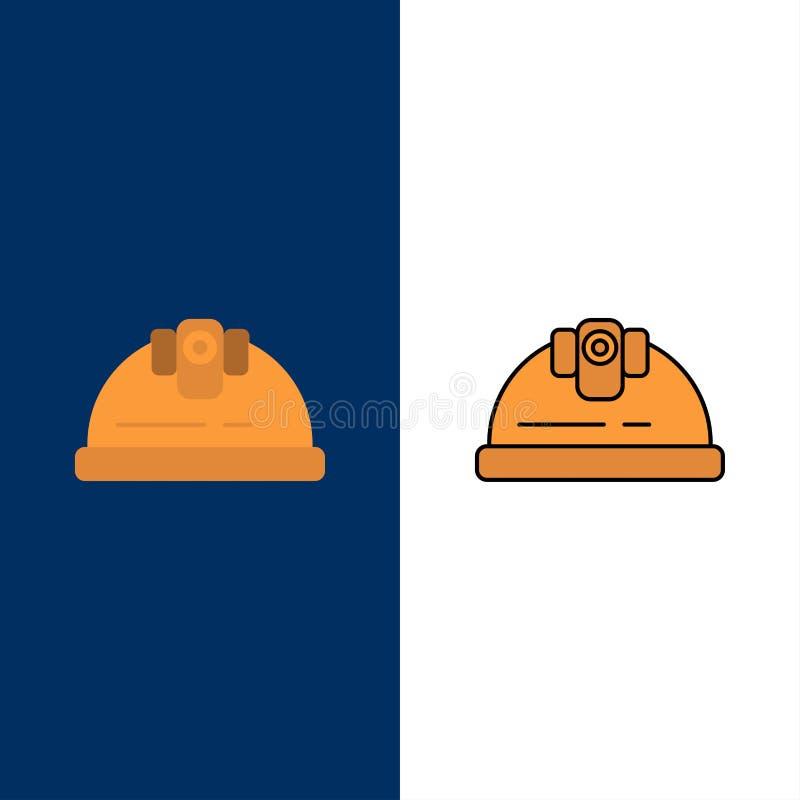 Шлем, инженер, здание, значки конструкции Квартира и линия заполненный значок установили предпосылку вектора голубую бесплатная иллюстрация