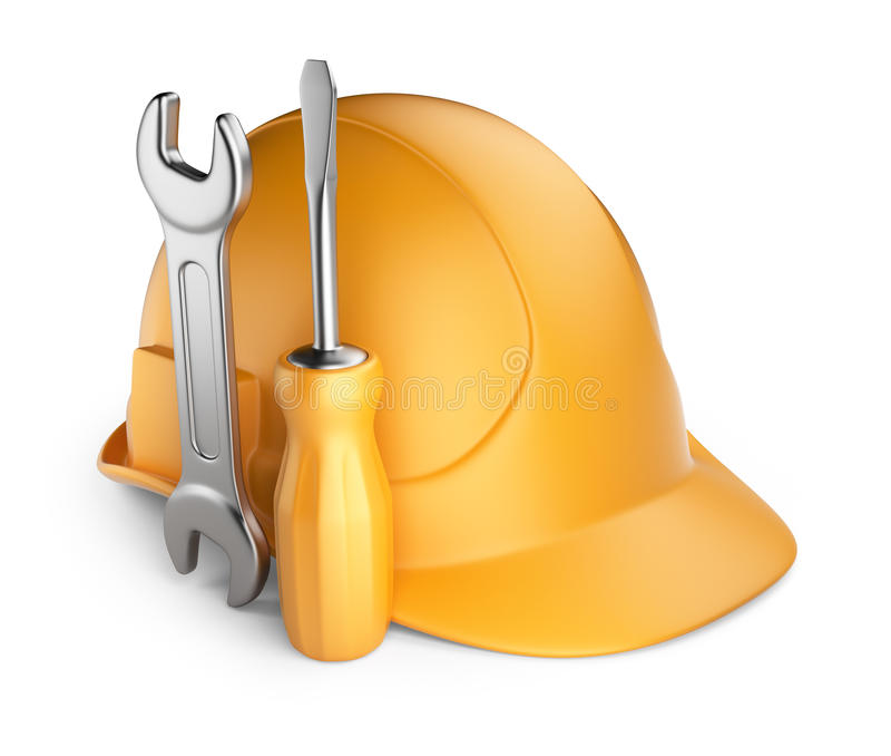 Шлем и инструменты. икона 3D   иллюстрация штока