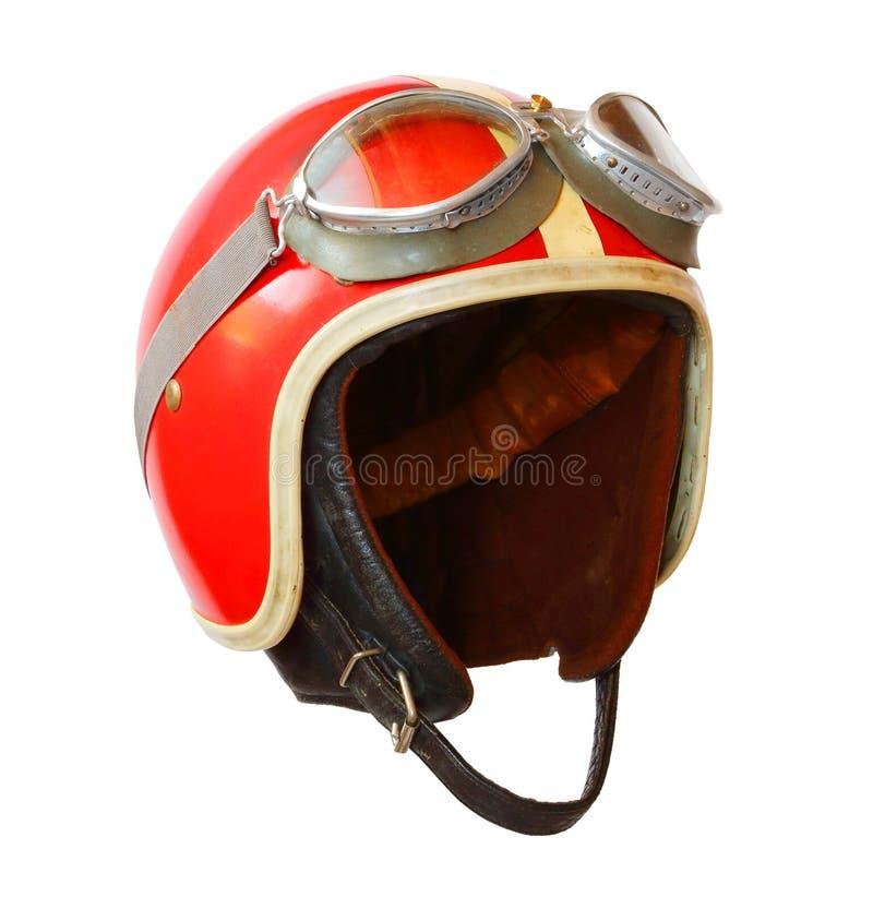 Шлем мотоцикла на белой предпосылке стоковая фотография rf