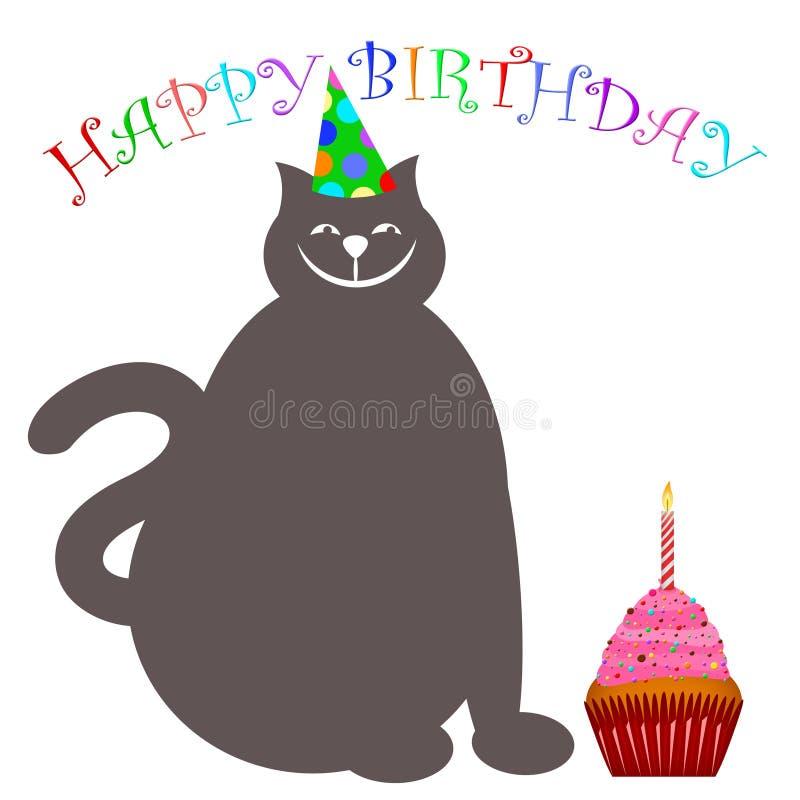 шлем пирожня кота свечки дня рождения счастливый бесплатная иллюстрация