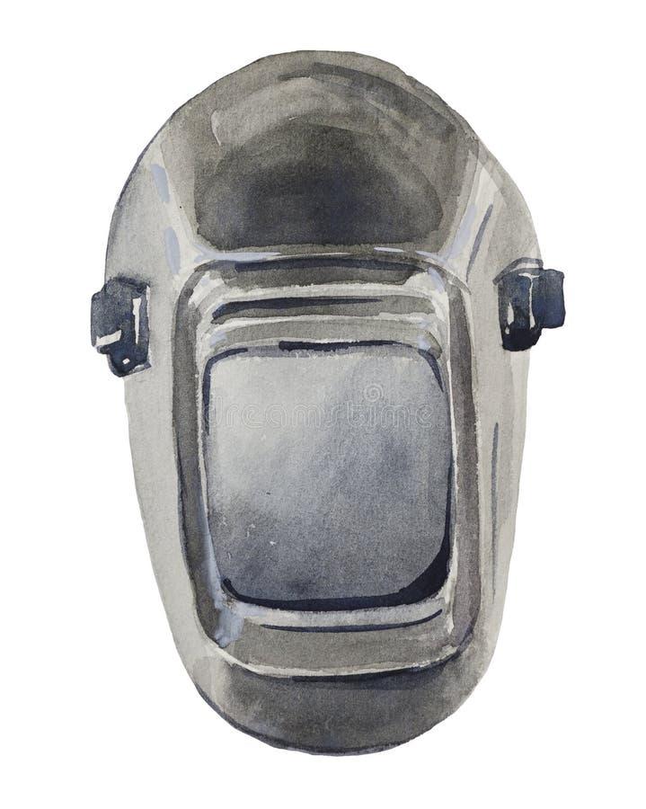 Шлем сварщика Aquarelle с автоматическ-затмевать бесплатная иллюстрация