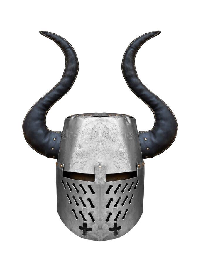 Шлем средневекового рыцаря утюга с большими рожками стоковые фотографии rf