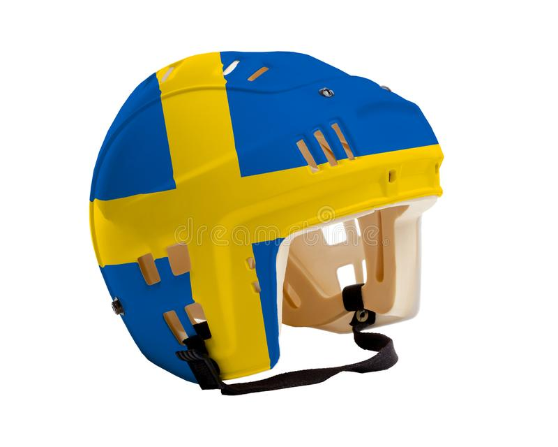 Шлем хоккея с покрашенным флагом Швеции иллюстрация вектора
