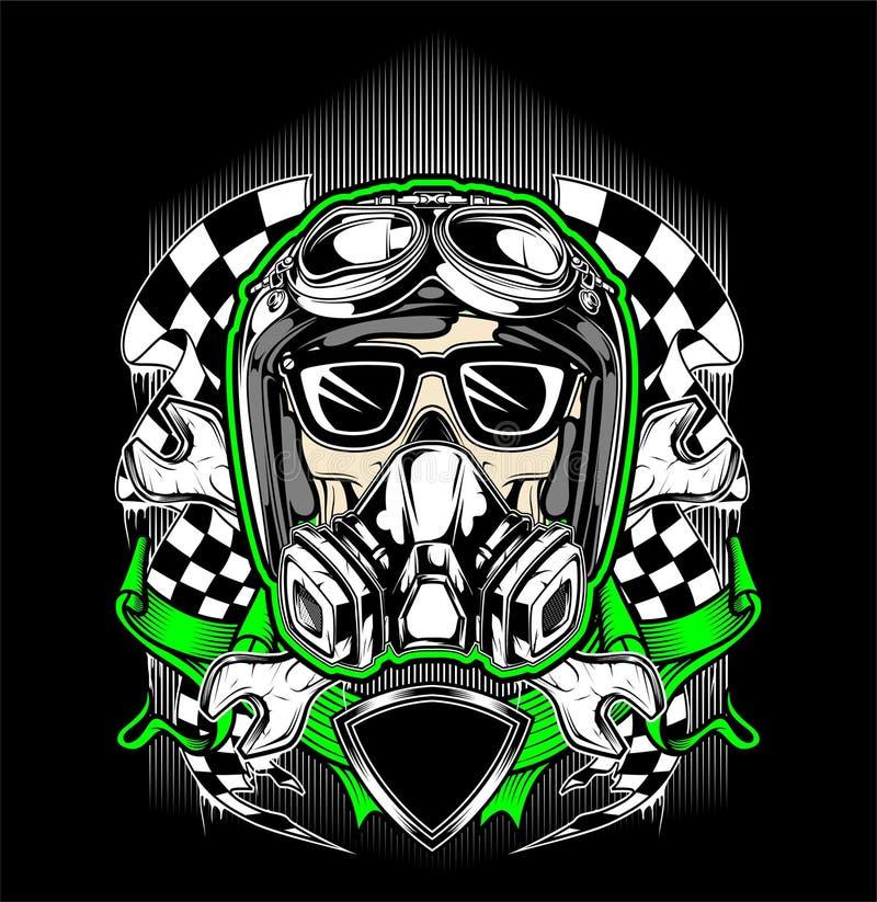Шлем черепа участвуя в гонке с маской газа иллюстрация штока