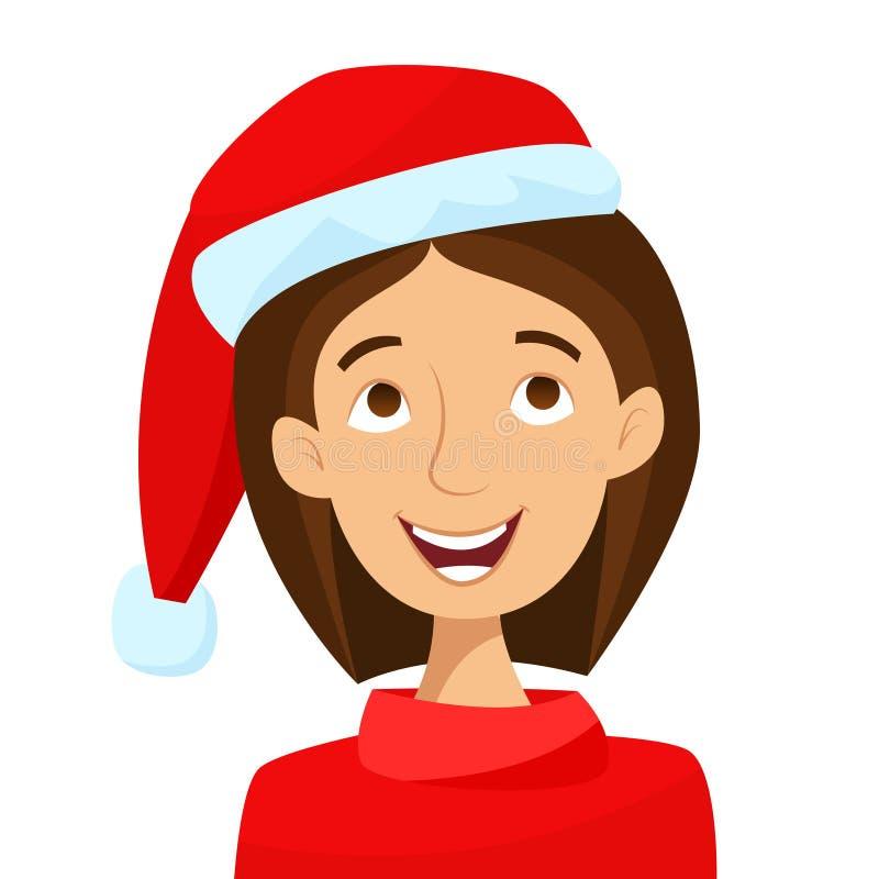 шлем santa девушки рождество веселое Плоский стиль шаржа иллюстрация вектора
