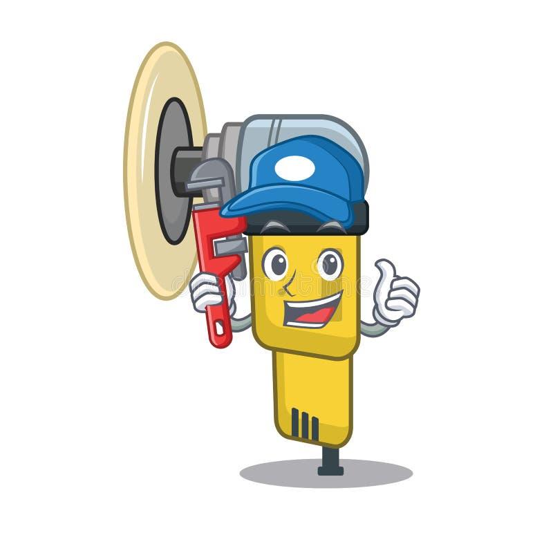 Шлифовальный прибор водопроводчика пневматический помещенный внутри коробки характера бесплатная иллюстрация
