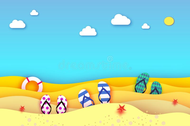 Шлоп-шлоп обувают в стиле отрезка бумаги Море и пляж Origami с lifebuoy Центр событий спорта Каникулы и концепция перемещения иллюстрация штока