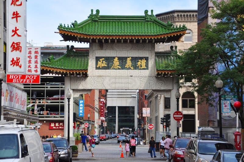 шлюз massachusetts boston chinatown стоковое изображение rf