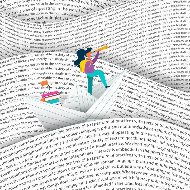 Шлюпка бумаги плавания девушки в концепции моря образования иллюстрация штока