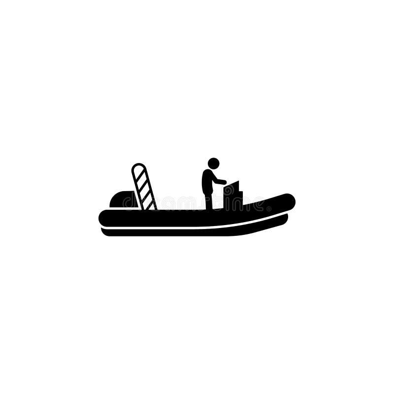 шлюпка, значок мотора Элемент значка водного транспорта для мобильных приложений концепции и сети Детализированную шлюпку, значок иллюстрация вектора