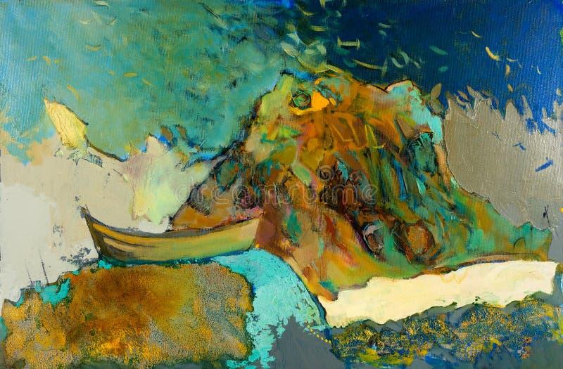 Шлюпка и океан бесплатная иллюстрация