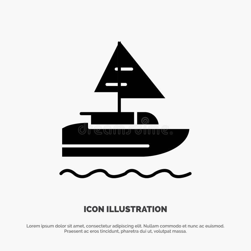 Шлюпка, корабль, индеец, вектор значка глифа страны твердый иллюстрация штока