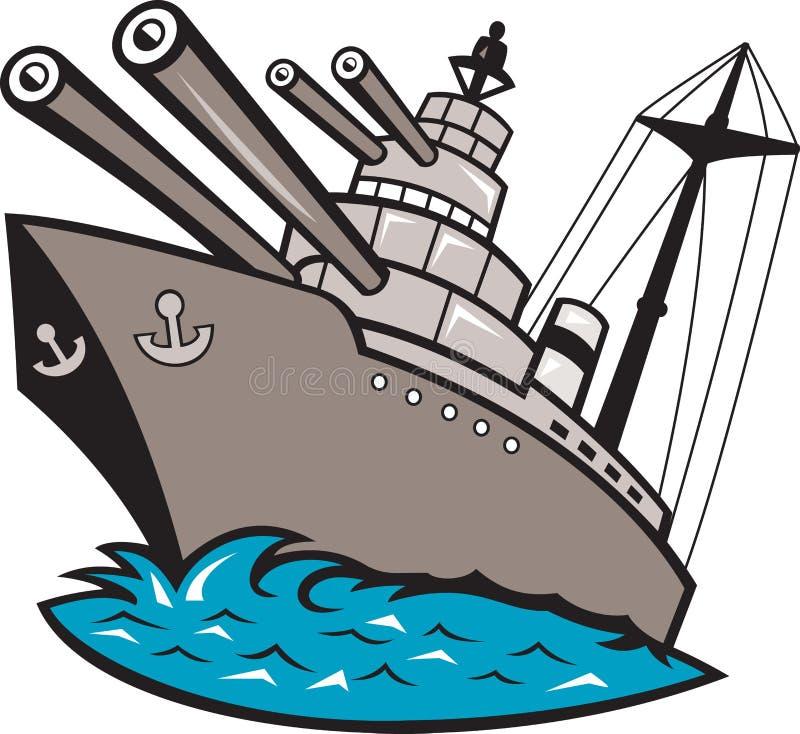 шлюпка линкора большая дает полный газ военному кораблю иллюстрация вектора