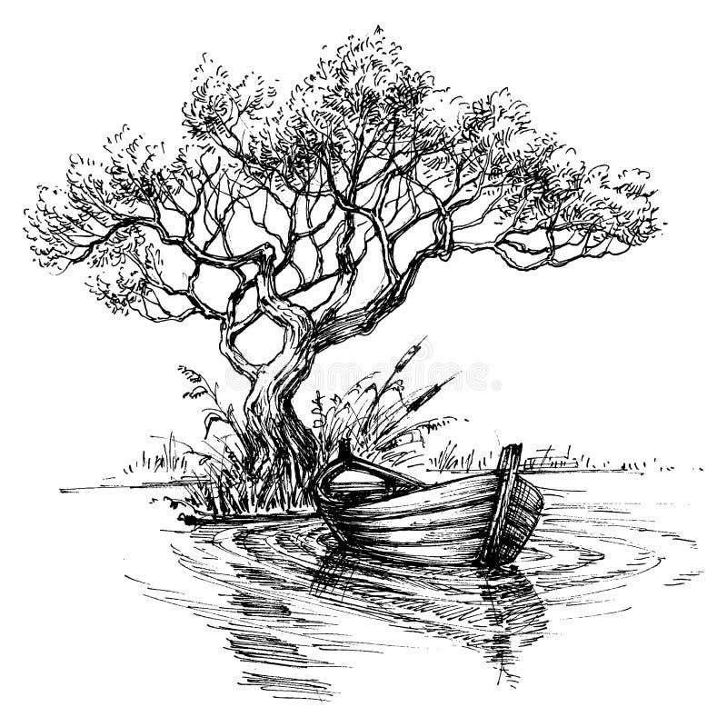 Шлюпка на эскизе воды иллюстрация вектора