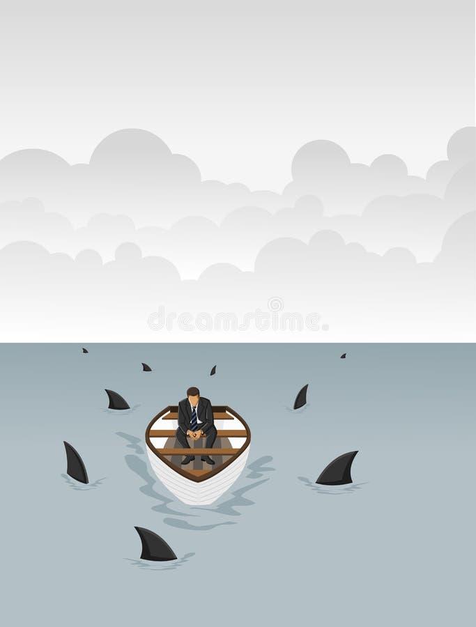 Шлюпка окруженная акулами иллюстрация вектора