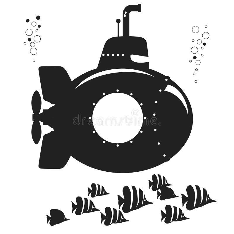 Шлюпка подводной лодки силуэта подводная с рыбами вектор иллюстрация вектора