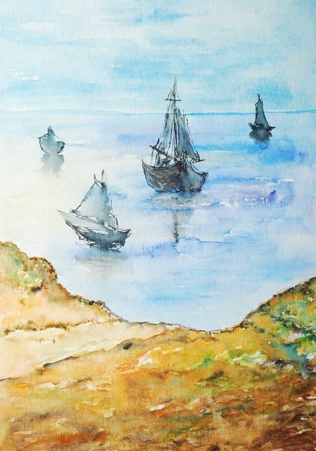 шлюпки крася акварель берега иллюстрация вектора