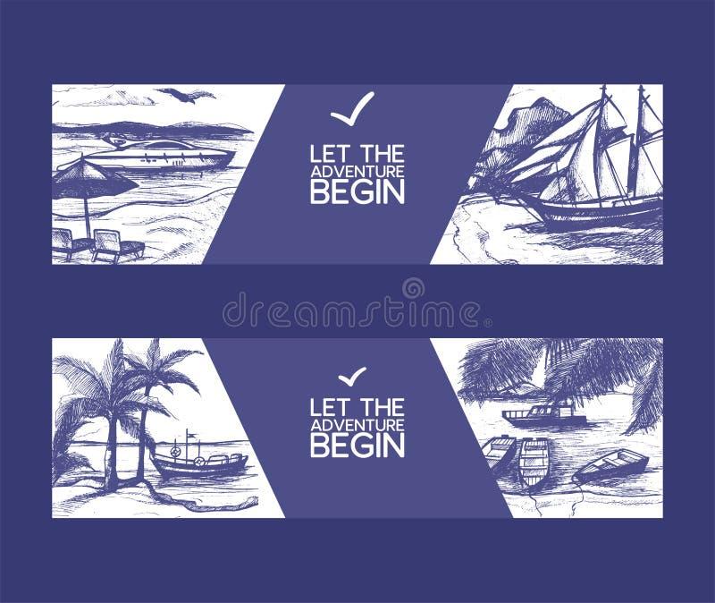 Шлюпки на иллюстрации вектора эскиза пляжа seascape Время прохождения приключения руки вычерченное на парусном судне или шлюпке о иллюстрация штока