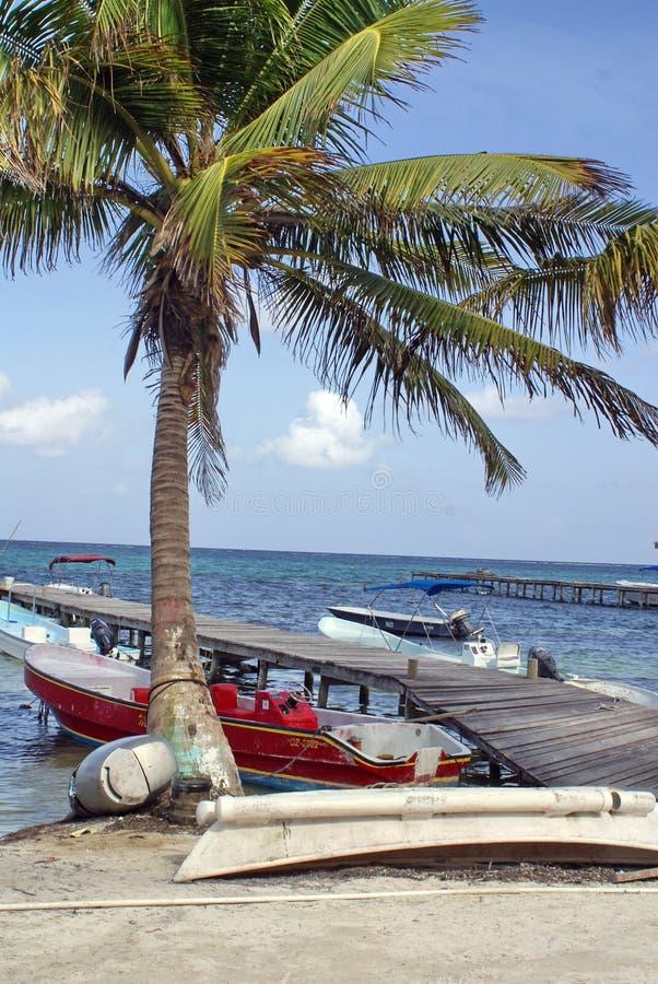 Шлюпки на пристани в карибском море стоковые изображения