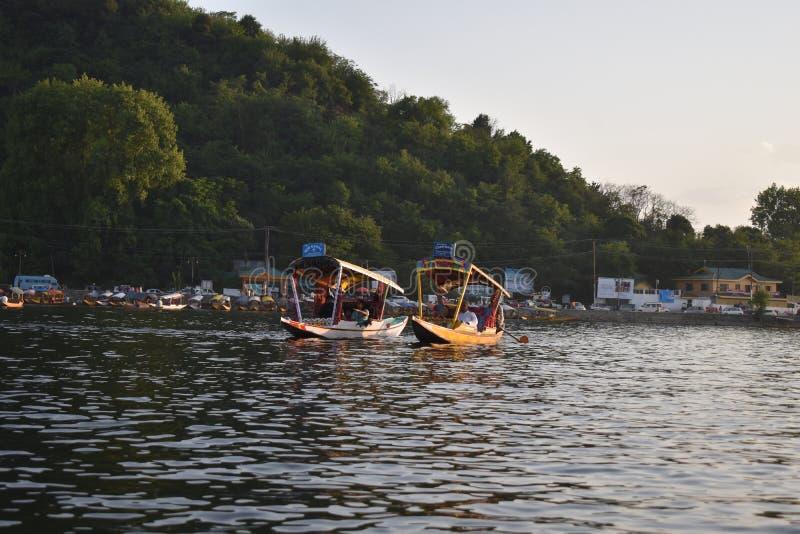 Шлюпки плавая в середине озера Dal с предпосылкой леса в Сринагаре, Джамму и Кашмир, Индии стоковая фотография