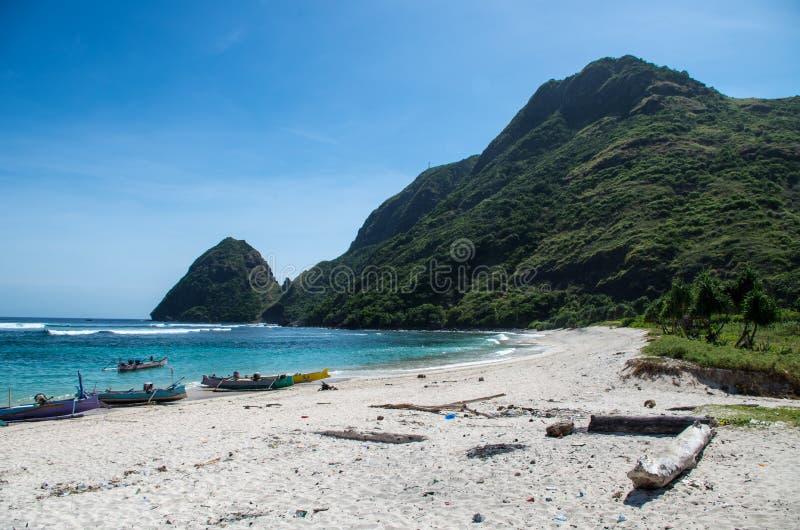 Шлюпки Fisher на пляже с джунглями и горах в backg стоковые изображения rf