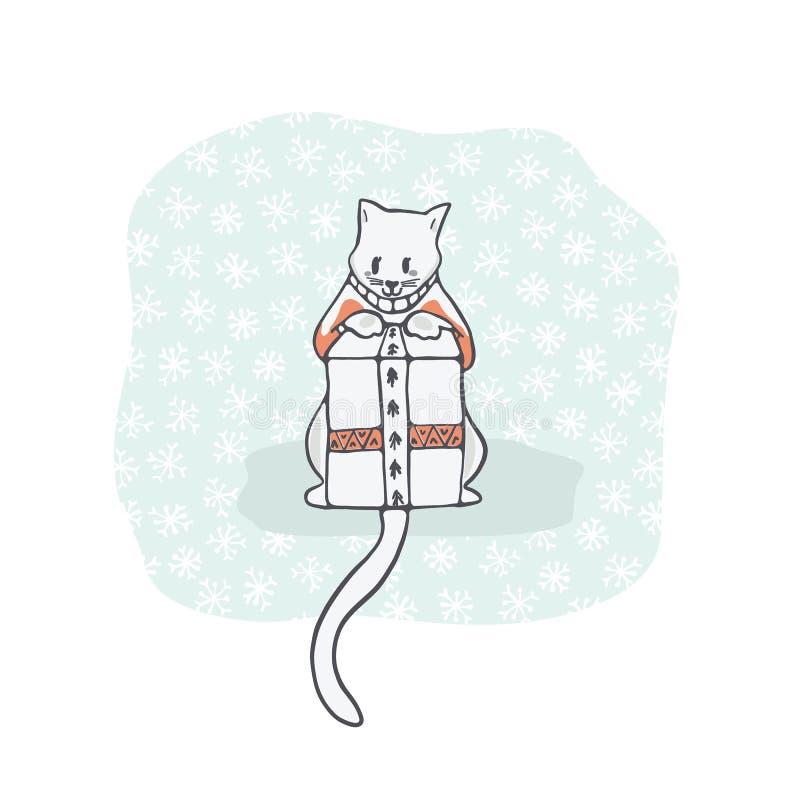 Шлямбур вышивки котенка рождества и присутствующая коробка Clipart, нарисованная рука иллюстрация вектора